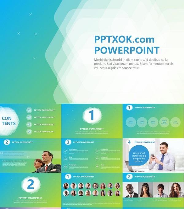 渐变清爽ios风商业公司简介团队介绍PPT模板下载