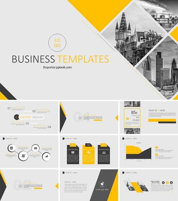 橙黑灰色商务风公司介绍企业简介商业计划书PPT模板下载