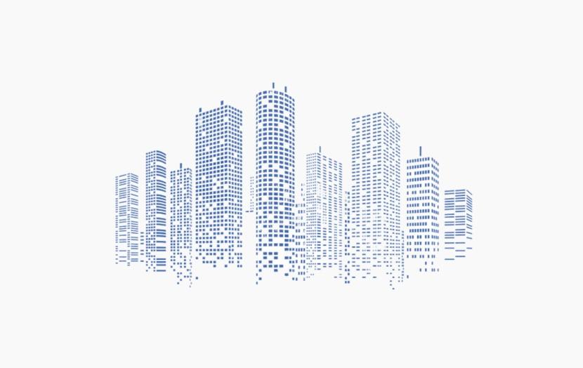城市 高楼大厦 楼群 点阵楼群