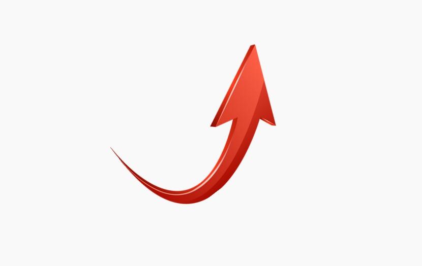 红色箭头 向上曲线箭头 立体箭头