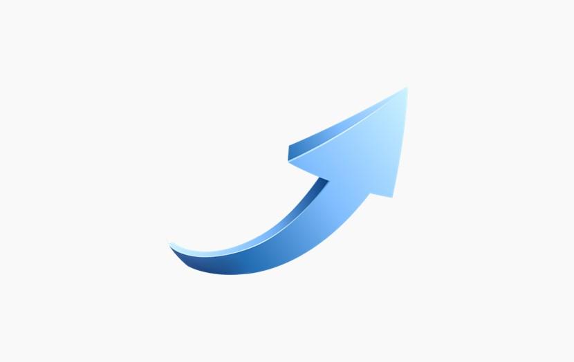 蓝色箭头 弯曲向上立体箭头