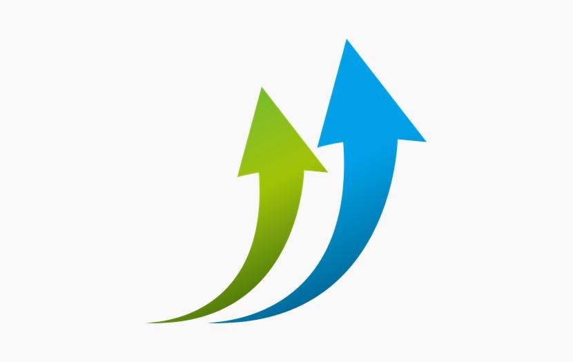 蓝绿箭头 增长箭头
