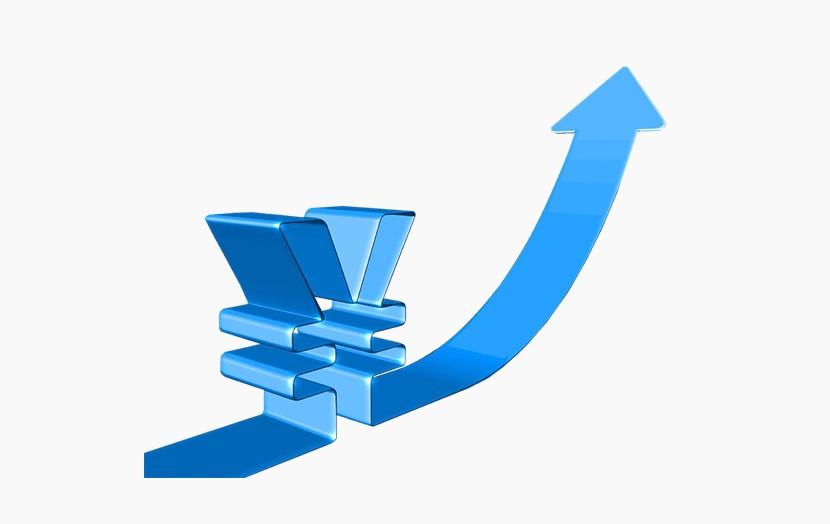 人民币符号 上升增长箭头