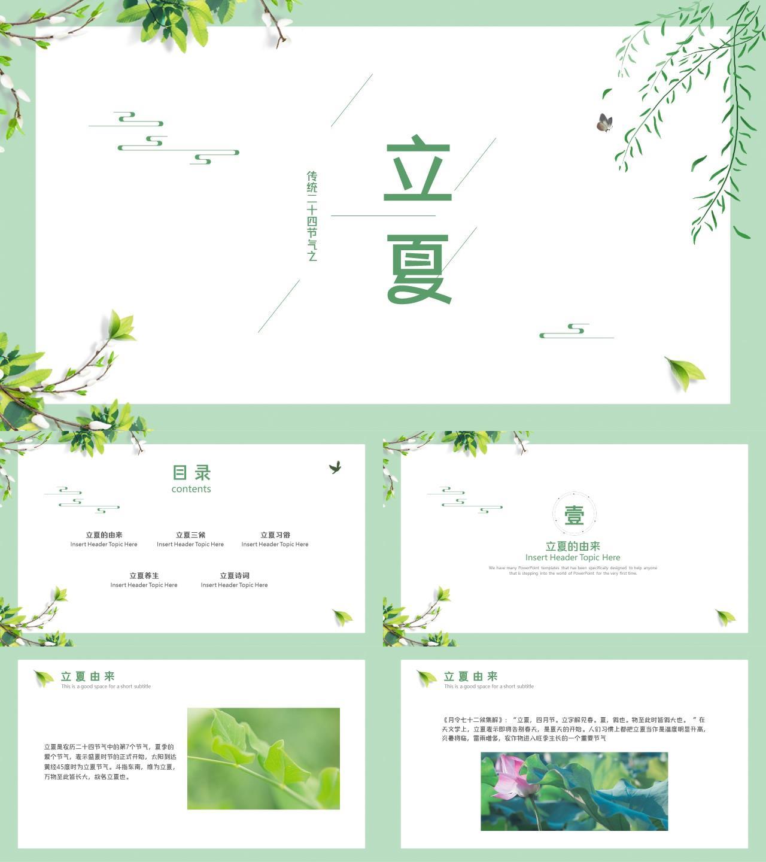 绿色植物树叶花朵小清新立夏PPT模板