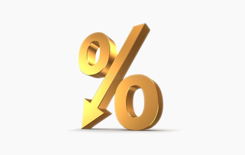 金色百分号 百分比下降